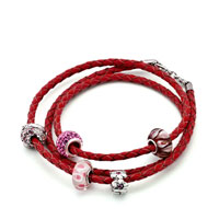 Charms Beads - SNAKE CHARMS SNAKE CHAINS SNAKE BRACELETS LIGHT RED LEATHER WOVEN WRIST CHAIN BRACELET alternate image 1.