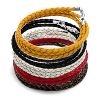 Charms Beads - SNAKE CHARMS SNAKE CHAINS SNAKE BRACELETS LIGHT RED LEATHER WOVEN WRIST CHAIN BRACELET alternate image 3.