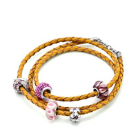 Bracelets - SNAKE CHAINS TOPAZ YELLOW LEATHER WOVEN BEADS CHARMS BRACELETS FIT ALL BRANDS alternate image 1.