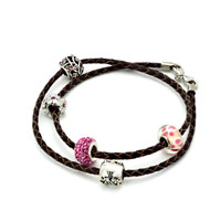 Charms Beads - SNAKE CHARMS SNAKE CHAINS SNAKE BRACELETS BROWN LEATHER WOVEN WRIST CHAIN BRACELET alternate image 1.