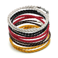 Charms Beads - SNAKE CHARMS SNAKE CHAINS SNAKE BRACELETS BROWN LEATHER WOVEN WRIST CHAIN BRACELET alternate image 3.
