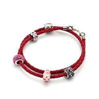 Charms Beads - SNAKE CHARMS SNAKE CHAINS SNAKE BRACELETS LIGHT RED LEATHER WOVEN BRACELET alternate image 1.