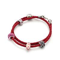 Bracelets - SNAKE CHARMS SNAKE CHAINS SNAKE BRACELETS LIGHT RED LEATHER WOVEN BRACELET alternate image 1.