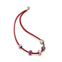 Charms Beads - SNAKE CHARMS SNAKE CHAINS SNAKE BRACELETS LIGHT RED LEATHER WOVEN BRACELET alternate image 2.