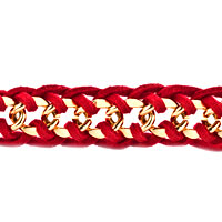 New Year Deals - RED BRAIDED VINTAGE CURB CHUNKY SYDNE LINK CHAIN AND LEATHER STRAP BRACELET alternate image 1.