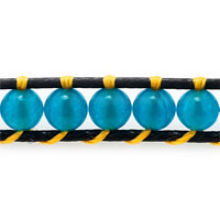 New Year Deals - AQUAMARINE BLUE STONE YELLOW CRYSTAL BROWN LEATHER WRAP BRACELET alternate image 1.