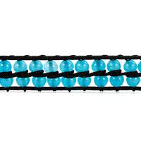 New Year Deals - SAPPHIRE BLUE STONE DOUBLE WRAP BLACK LEATHER BRACELET alternate image 1.
