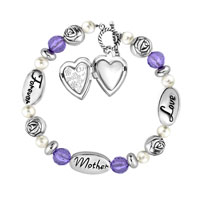 Charms Beads - LOVE MOTHER FOREVER ROSE FLOWER PURPLE CRYSTAL WHITE PEARL BEADS CHARMS BRACELETS FIT ALL BRANDS alternate image 1.