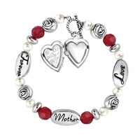 Charms Beads - LOVE MOTHER FOREVER ROSE FLOWERS PEARLS HEART TOGGLE CLASP BEADS CHARMS BRACELETS FIT ALL BRANDS alternate image 2.