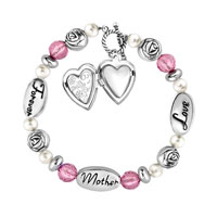 Charms Beads - LOVE MOTHER LOCKETS FOREVER ROSE PINK CRYSTAL TOGGLE CLASP BEADS CHARMS BRACELETS FIT ALL BRANDS alternate image 2.