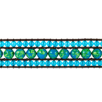 Bracelets - GREEN AGAINST AQUAMARINE BLUE STONE DOUBLE CRYSTAL WRAP BROWN LEATHER BRACELET alternate image 1.