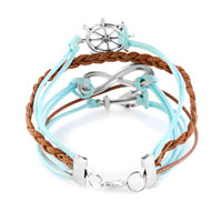 New Year Deals - INFINITY BRACELET WHEEL ANCHOR AQUAMARINE BLUE BRAIDED LEATHER ROPE alternate image 1.
