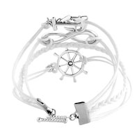 Bracelets - INFINITY BRACELET ANCHOR WHEEL CROSS COTTON ROPE LEATHER BRACELET WHITE alternate image 1.