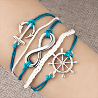 Bracelets - INFINITY BRACELET WHEEL ANCHOR BLUE LEATHER ROPE BANGLE alternate image 1.