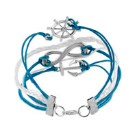 Bracelets - INFINITY BRACELET WHEEL ANCHOR BLUE LEATHER ROPE BANGLE alternate image 2.