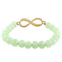 New Year Deals - HOT INFINITY BRACELET LIGHT GREEN CRYSTAL BEADS ICED OUT BRACELETS alternate image 1.