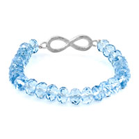 New Year Deals - FASHION INFINITY BRACELET LIGHT BLUE CRYSTAL BEADS ICED OUT BRACELET alternate image 1.