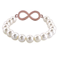 New Year Deals - CLASSIC INFINITY BRACELET WHITE SHELL PEARL BEADS ICED OUT BRACELETS alternate image 1.