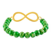 New Year Deals - CLASSIC INFINITY BRACELET EMERALD GREEN CRYSTAL BEADS BRACELETS alternate image 1.