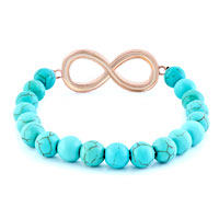 New Year Deals - INFINITY BRACELET TURQUOISE BEADS SHIMMERING CRYSTAL BRACELETS alternate image 1.