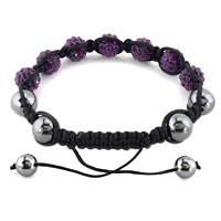 New Year Deals - SHAMBHALA BRACELET AMETHYST PURPLE CRYSTAL STONE BALLS BEADED alternate image 1.