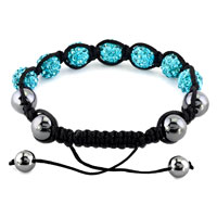 New Year Deals - SHAMBHALA BRACELET AQUAMARINE BLUE CRYSTAL STONE BALLS BEADED alternate image 1.