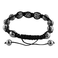 New Year Deals - SHAMBHALA BRACELET SMOKY GRAY CRYSTAL STONE BALLS BEADED alternate image 1.