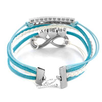 Bracelets - INFINITY BRACELET THREE HEART AQUAMARINE BLUE BRAIDED LEATHER ROPE alternate image 1.