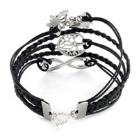 Bracelets - INFINITY DOUBLE BUTTERFLY ANIMAL HOOP TREE OF LIFE LEATHER ROPE BRACELET alternate image 1.