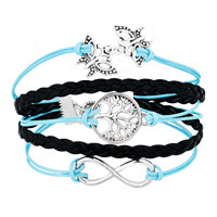 Bracelets - ICED OUT SIDEWAYS INFINITY TREE OF LIFE BUTTERFLY OCEAN BLUE BLACK BRAIDED LEATHER ROPE BRACELET alternate image 1.