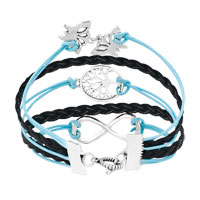Bracelets - ICED OUT SIDEWAYS INFINITY TREE OF LIFE BUTTERFLY OCEAN BLUE BLACK BRAIDED LEATHER ROPE BRACELET alternate image 2.