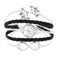 Bracelets - ICED OUT SIDEWAYS INFINITY TREE OF LIFE BUTTERFLY WHITE BLACK BRAIDED LEATHER ROPE BRACELET alternate image 1.