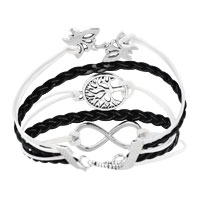 Bracelets - ICED OUT SIDEWAYS INFINITY TREE OF LIFE BUTTERFLY WHITE BLACK BRAIDED LEATHER ROPE BRACELET alternate image 2.