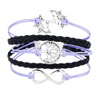 New Arrivals - ICED OUT SIDEWAYS INFINITY TREE OF LIFE BUTTERFLY LIGHT PURPLE BLACK BRAIDED LEATHER ROPE BRACELET alternate image 1.