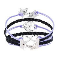 New Arrivals - ICED OUT SIDEWAYS INFINITY TREE OF LIFE BUTTERFLY LIGHT PURPLE BLACK BRAIDED LEATHER ROPE BRACELET alternate image 2.