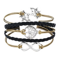 Bracelets - ICED OUT SIDEWAYS INFINITY TREE OF LIFE BUTTERFLY GREEN BLACK BRAIDED LEATHER ROPE BRACELET alternate image 1.