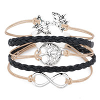 Bracelets - ICED OUT SIDEWAYS INFINITY TREE OF LIFE BUTTERFLY YELLOW BLACK BRAIDED LEATHER ROPE BRACELET alternate image 1.