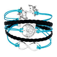 Bracelets - ICED OUT SIDEWAYS INFINITY TREE OF LIFE BUTTERFLY BLUE BLACK BRAIDED LEATHER ROPE BRACELET alternate image 1.