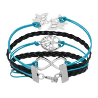 New Arrivals - ICED OUT SIDEWAYS INFINITY TREE OF LIFE BUTTERFLY BLUE BLACK BRAIDED LEATHER ROPE BRACELET alternate image 2.