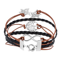 Bracelets - ICED OUT SIDEWAYS INFINITY TREE OF LIFE BUTTERFLY BROWN BLACK BRAIDED LEATHER ROPE BRACELET alternate image 2.