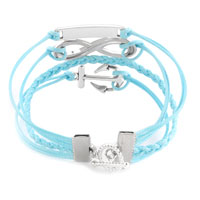Bracelets - INFINITY BRACELET ANCHOR LOVE BLUE BRAIDED LEATHER ROPE BANGLE alternate image 1.