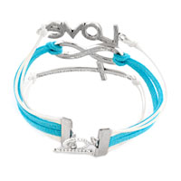 Bracelets - INFINITY BRACELET SIDEWAYS CROSS LOVE BLUE BRAIDED LEATHER ROPE BANGLE alternate image 1.