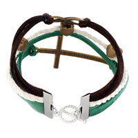 Bracelets - INFINITY BRACELET THREE HEART SIDEWAYS CROSS LEATHER ROPE BRACELET alternate image 1.