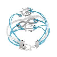 Bracelets - INFINITY BRACELET ANCHOR WHEEL CROSS COTTON ROPE LEATHER BRACELET BLUE alternate image 1.