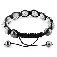 KSEB SHEB Items - SHAMBHALA BRACELETS CLEAR WHITE CRYSTAL STONE BALLS ADJUSTABLE LACE BRACELET alternate image 1.