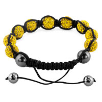 KSEB SHEB Items - SHAMBHALA BRACELETS TOPAZ YELLOW CRYSTAL STONE BALLS ADJUSTABLE LACE BRACELET alternate image 1.