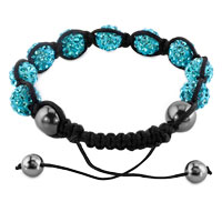 KSEB SHEB Items - SHAMBHALA BRACELETS BLUE TOPAZ CRYSTAL STONE BALLS ADJUSTABLE LACE BRACELET alternate image 1.