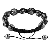 KSEB SHEB Items - SHAMBHALA BRACELETS GRAY CRYSTAL STONE BALLS ADJUSTABLE LACE BRACELET alternate image 1.