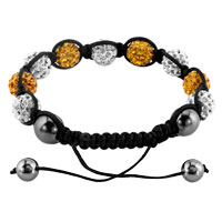 KSEB SHEB Items - SHAMBHALA BRACELETS WHITE YELLOW CRYSTAL STONE BALLS ADJUSTABLE LACE BRACELET alternate image 1.