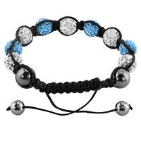 Bracelets - SHAMBHALA BRACELETS WHITE AQUAMARINE BLUE CRYSTAL STONE BALLS ADJUSTABLE LACE BRACELET alternate image 1.